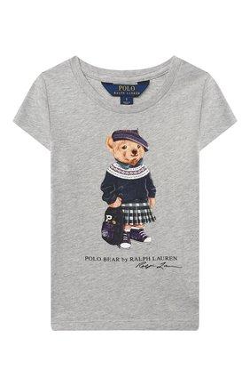 Детская хлопковая футболка POLO RALPH LAUREN серого цвета, арт. 312802624 | Фото 1