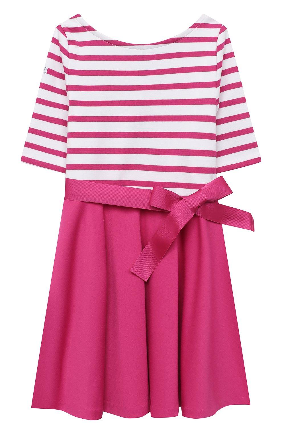 Детское платье с поясом POLO RALPH LAUREN розового цвета, арт. 311720091 | Фото 1 (Рукава: Короткие; Случай: Повседневный; Материал внешний: Синтетический материал; Ростовка одежда: 2 года | 92 см)