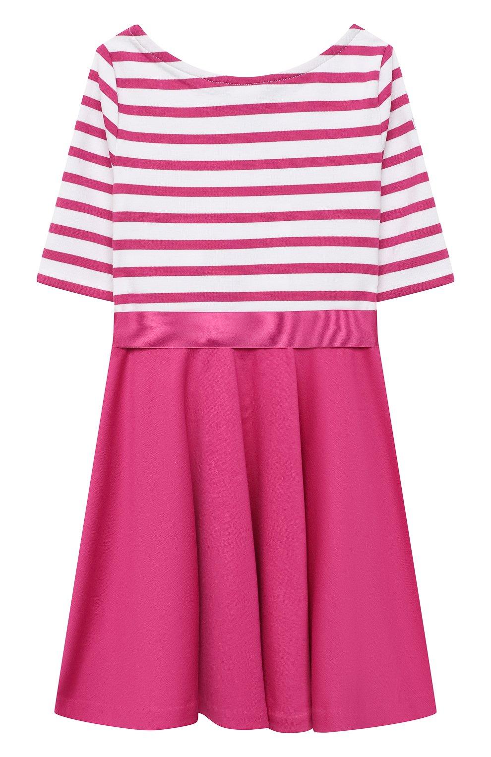 Детское платье с поясом POLO RALPH LAUREN розового цвета, арт. 311720091 | Фото 2 (Рукава: Короткие; Случай: Повседневный; Материал внешний: Синтетический материал; Ростовка одежда: 2 года | 92 см)