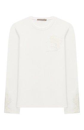 Детская хлопковый лонгслив ERMANNO SCERVINO белого цвета, арт. 47I TS04 JEA/10-16 | Фото 1