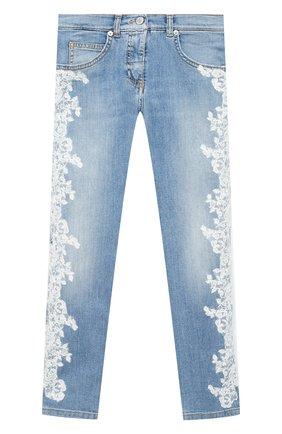 Детские джинсы ERMANNO SCERVINO голубого цвета, арт. 47I JL04 JNS/10-16 | Фото 1 (Материал внешний: Хлопок; Кросс-КТ: джинсы; Ростовка одежда: 10 - 11 лет | 140 - 146см, 12 лет | 152 см)