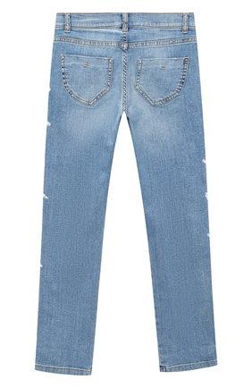 Детские джинсы ERMANNO SCERVINO голубого цвета, арт. 47I JL04 JNS/10-16 | Фото 2 (Материал внешний: Хлопок; Кросс-КТ: джинсы; Ростовка одежда: 10 - 11 лет | 140 - 146см, 12 лет | 152 см)