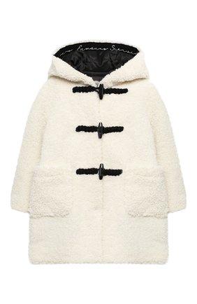 Детское пальто с капюшоном ERMANNO SCERVINO бежевого цвета, арт. 47I CP17 VINV/4-8 | Фото 1