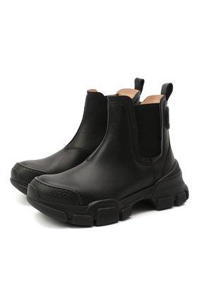 Детские кожаные ботинки GUCCI черного цвета, арт. 629739/DTN50 | Фото 1
