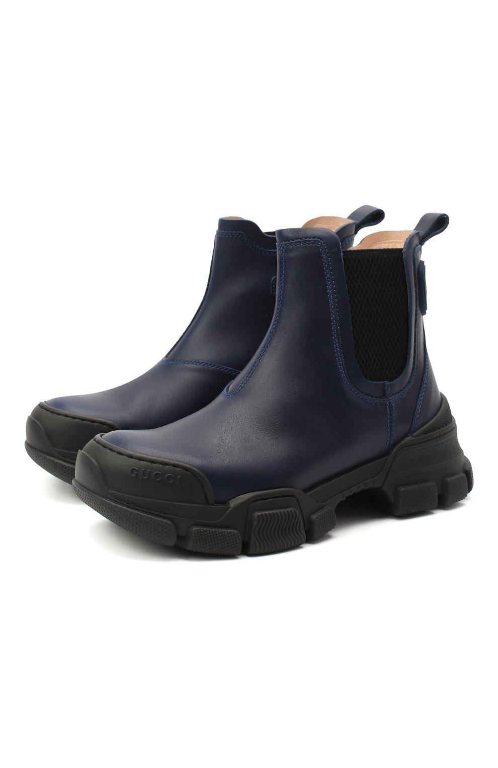 Детские кожаные ботинки GUCCI синего цвета, арт. 629739/DTN50 | Фото 1 (Материал внутренний: Натуральная кожа)