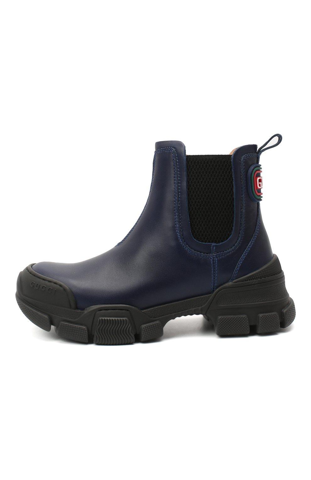 Детские кожаные ботинки GUCCI синего цвета, арт. 629739/DTN50 | Фото 2 (Материал внутренний: Натуральная кожа)