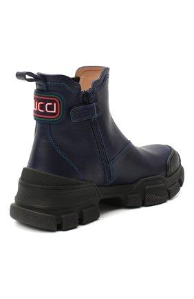 Детские кожаные ботинки GUCCI синего цвета, арт. 629739/DTN50 | Фото 3 (Материал внутренний: Натуральная кожа)