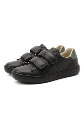 Детские кожаные кеды GUCCI черного цвета, арт. 630286/BLN70 | Фото 1