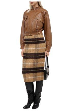 Женский кожаный бомбер GIVENCHY бежевого цвета, арт. BW00A260E9 | Фото 2