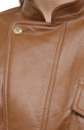 Женский кожаный бомбер GIVENCHY бежевого цвета, арт. BW00A260E9 | Фото 5