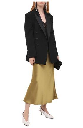 Женские кожаные туфли TOM FORD белого цвета, арт. W2685T-LSP013 | Фото 2 (Материал внутренний: Текстиль, Натуральная кожа; Подошва: Плоская; Каблук тип: Kitten heel; Каблук высота: Низкий)