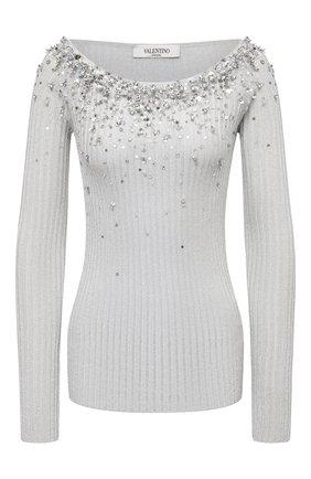 Женская пуловер из вискозы VALENTINO серебряного цвета, арт. UB3KC17C5SM   Фото 1