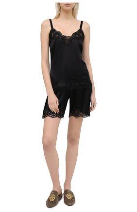 Женские шорты из шелка и хлопка DOLCE & GABBANA черного цвета, арт. 03A30T/FUAD8 | Фото 2