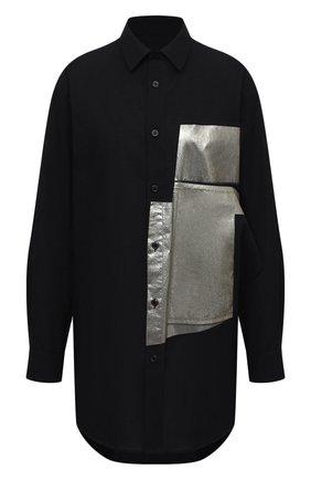 Женская хлопковая рубашка Y`S черного цвета, арт. YB-B02-030   Фото 1