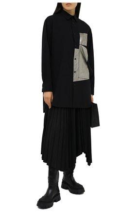 Женская хлопковая рубашка Y`S черного цвета, арт. YB-B02-030   Фото 2