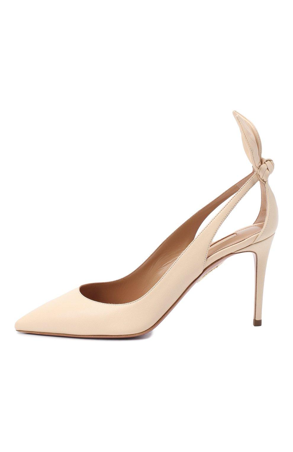 Женские кожаные туфли deneuve 85 AQUAZZURA кремвого цвета, арт. DENMIDP0-NAP-CRM | Фото 3