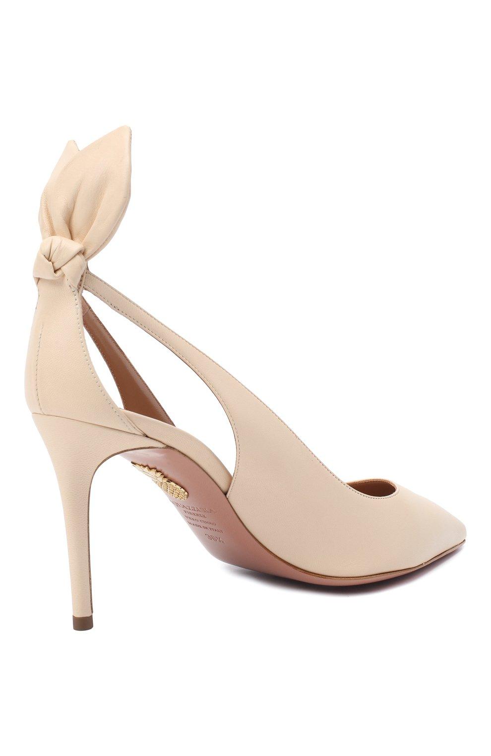 Женские кожаные туфли deneuve 85 AQUAZZURA кремвого цвета, арт. DENMIDP0-NAP-CRM | Фото 4