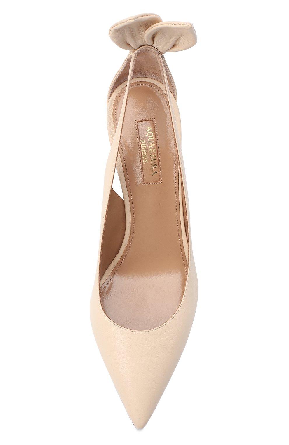 Женские кожаные туфли deneuve 85 AQUAZZURA кремвого цвета, арт. DENMIDP0-NAP-CRM | Фото 5