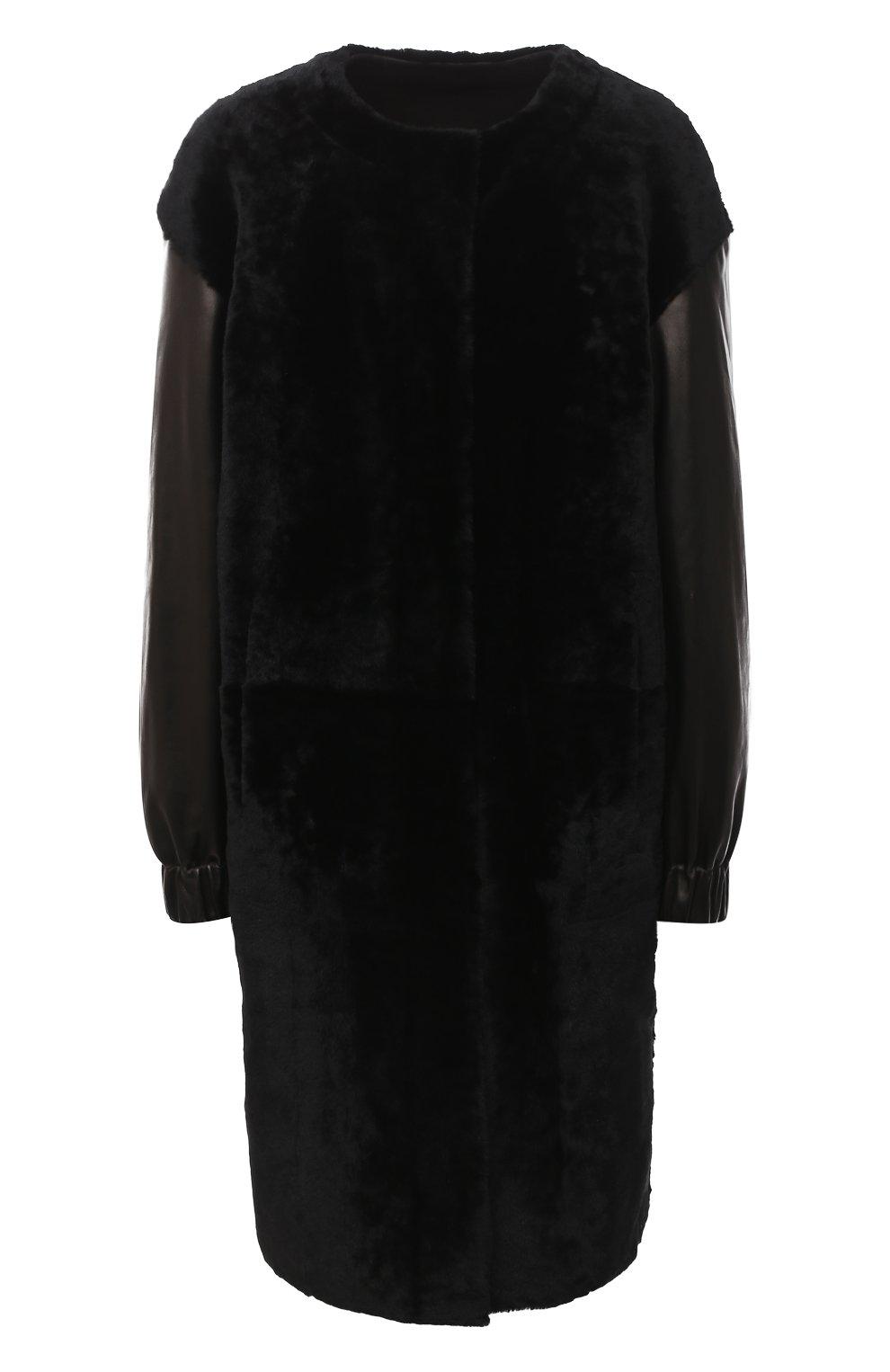 Женская шуба из овчины DROME черного цвета, арт. DPD5769/D1993 | Фото 1 (Женское Кросс-КТ: Мех; Рукава: Длинные; Материал внешний: Натуральный мех; Длина (верхняя одежда): До колена; Стили: Кэжуэл)