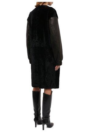 Женская шуба из овчины DROME черного цвета, арт. DPD5769/D1993 | Фото 4 (Женское Кросс-КТ: Мех; Рукава: Длинные; Материал внешний: Натуральный мех; Длина (верхняя одежда): До колена; Стили: Кэжуэл)