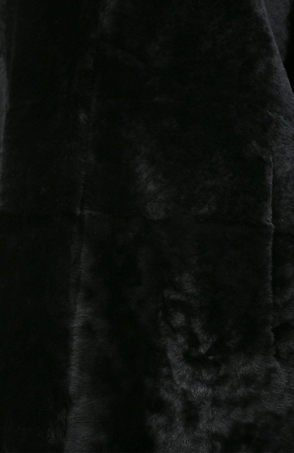 Женская шуба из овчины DROME черного цвета, арт. DPD5769/D1993 | Фото 5 (Женское Кросс-КТ: Мех; Рукава: Длинные; Материал внешний: Натуральный мех; Длина (верхняя одежда): До колена; Стили: Кэжуэл)