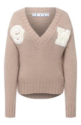 Женская шерстяной свитер OFF-WHITE бежевого цвета, арт. 0WHD014E20KNI0016201 | Фото 1