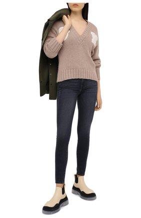 Женская шерстяной свитер OFF-WHITE бежевого цвета, арт. 0WHD014E20KNI0016201 | Фото 2