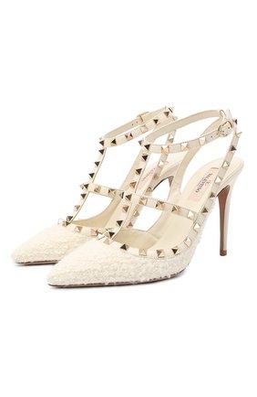 Женские комбинированные туфли rockstud VALENTINO кремвого цвета, арт. UW0S0393/BHJ | Фото 1