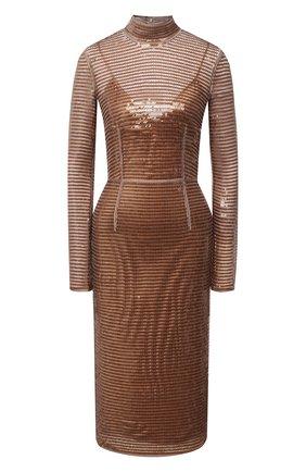 Женское платье с пайетками BURBERRY коричневого цвета, арт. 4566773 | Фото 1