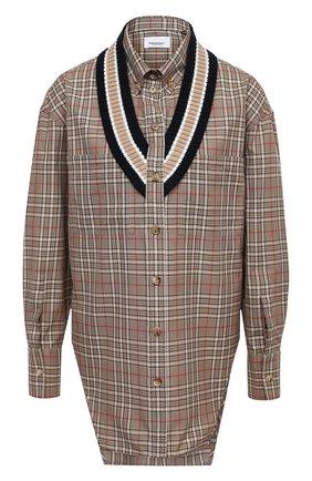 Женская хлопковая рубашка BURBERRY коричневого цвета, арт. 4566410 | Фото 1