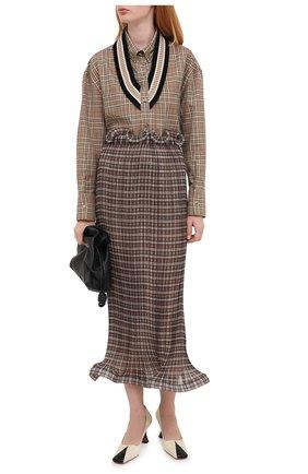 Женская хлопковая рубашка BURBERRY коричневого цвета, арт. 4566410 | Фото 2