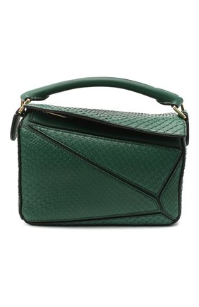 Женская сумка puzzle mini из кожи питона LOEWE зеленого цвета, арт. A510U95X23/PBIV | Фото 1