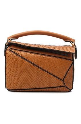 Женская сумка puzzle mini из кожи питона LOEWE светло-коричневого цвета, арт. A510U95X23/PBIV | Фото 1