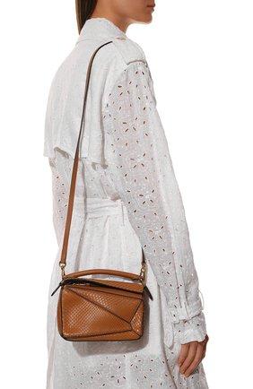 Женская сумка puzzle mini из кожи питона LOEWE светло-коричневого цвета, арт. A510U95X23/PBIV | Фото 2