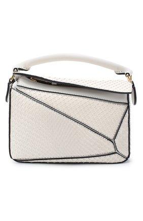 Женская сумка puzzle mini из кожи питона LOEWE белого цвета, арт. A510U95X23/PBIV | Фото 1 (Ремень/цепочка: На ремешке; Размер: mini; Сумки-технические: Сумки top-handle, Сумки через плечо)