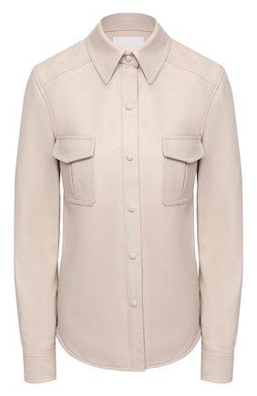 Женская кожаная рубашка TWINS FLORENCE кремвого цвета, арт. TWFAI20CAM0004 | Фото 1