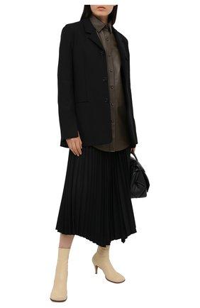 Женская кожаная рубашка TWINS FLORENCE хаки цвета, арт. TWFAI20CAM0007 | Фото 2