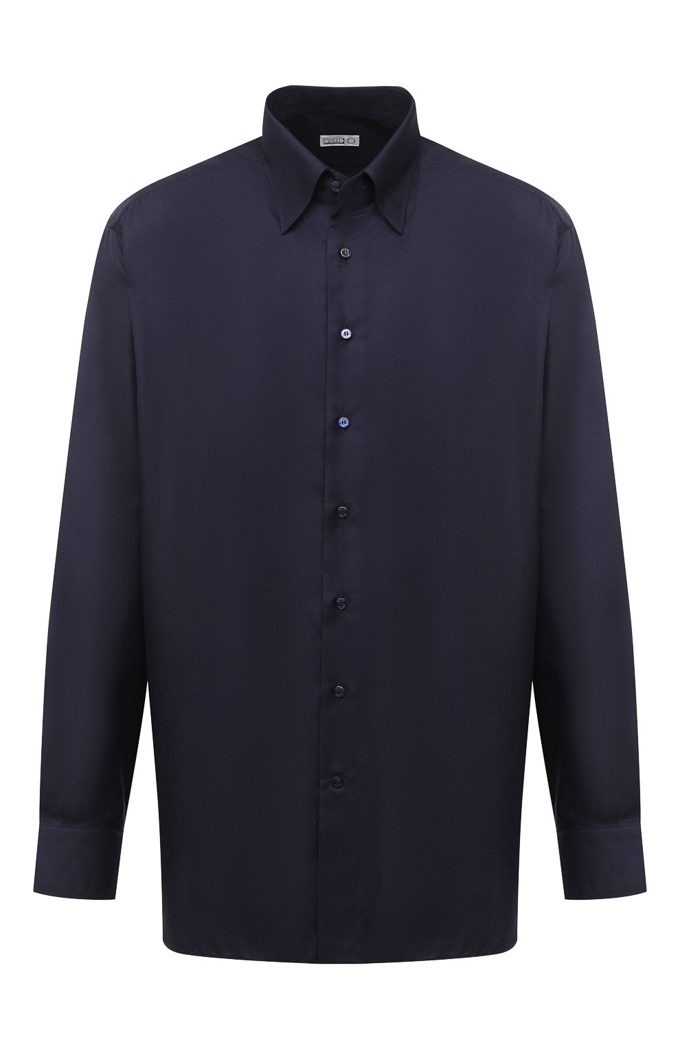 Мужская сорочка из кашемира и шелка ZILLI темно-синего цвета, арт. MFU-00503-87060/0001/45-49   Фото 1