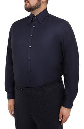 Мужская сорочка из кашемира и шелка ZILLI темно-синего цвета, арт. MFU-00503-87060/0001/45-49   Фото 3