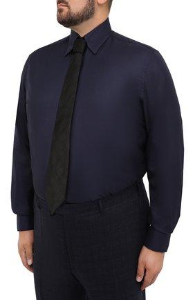 Мужская сорочка из кашемира и шелка ZILLI темно-синего цвета, арт. MFU-00503-87060/0001/45-49   Фото 4