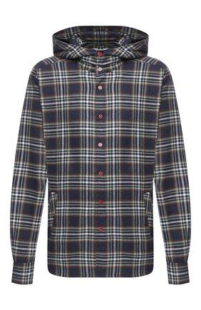 Мужская хлопковая рубашка KITON темно-синего цвета, арт. UMCMARH0748605/45-50 | Фото 1