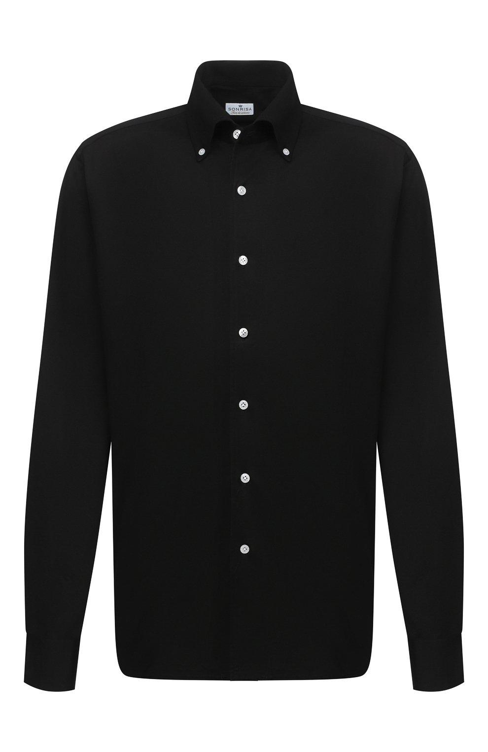 Мужская хлопковая сорочка SONRISA черного цвета, арт. IFJ7167/J133/47-51 | Фото 1