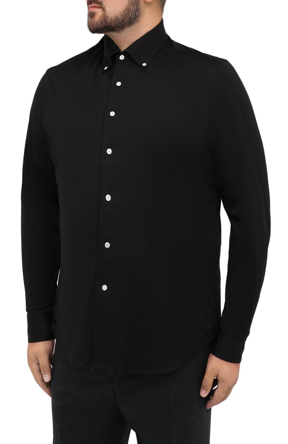 Мужская хлопковая сорочка SONRISA черного цвета, арт. IFJ7167/J133/47-51 | Фото 3