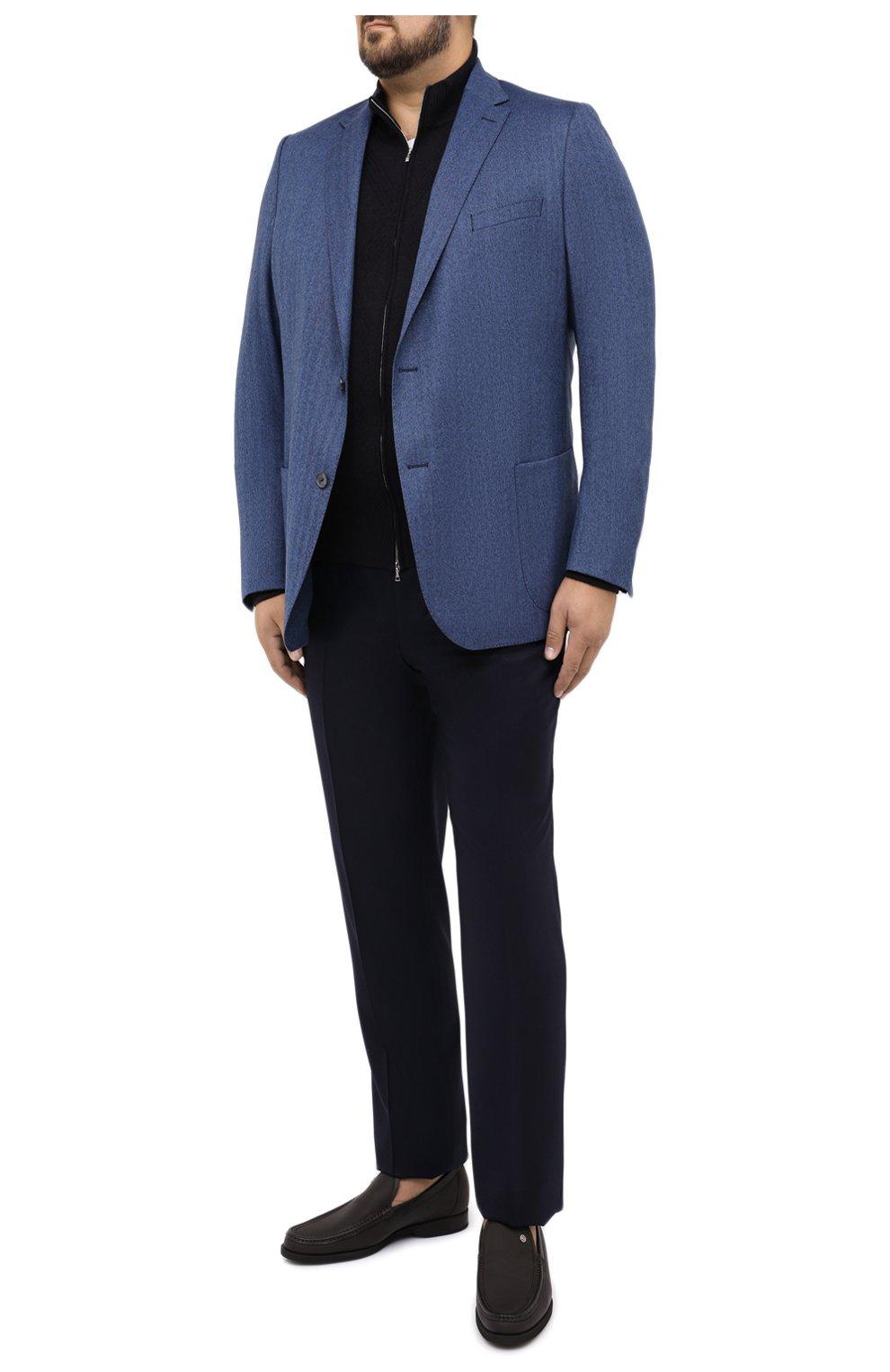 Мужской шерстяной пиджак EDUARD DRESSLER синего цвета, арт. 6461/26006   Фото 2 (Случай: Коктейльный; Big sizes: Big Sizes; Материал внешний: Шерсть; Рукава: Длинные; Длина (для топов): Стандартные; Стили: Классический; 1-2-бортные: Однобортные; Пиджаки М: Прямой; Материал подклада: Вискоза)