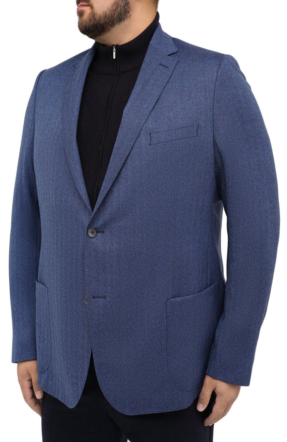 Мужской шерстяной пиджак EDUARD DRESSLER синего цвета, арт. 6461/26006   Фото 3 (Случай: Коктейльный; Big sizes: Big Sizes; Материал внешний: Шерсть; Рукава: Длинные; Длина (для топов): Стандартные; Стили: Классический; 1-2-бортные: Однобортные; Пиджаки М: Прямой; Материал подклада: Вискоза)