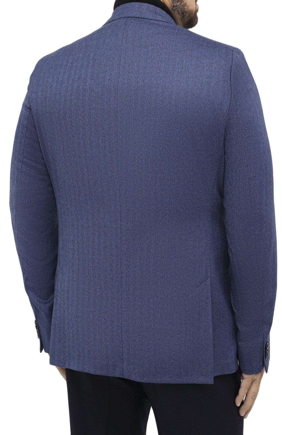 Мужской шерстяной пиджак EDUARD DRESSLER синего цвета, арт. 6461/26006   Фото 4 (Случай: Коктейльный; Big sizes: Big Sizes; Материал внешний: Шерсть; Рукава: Длинные; Длина (для топов): Стандартные; Стили: Классический; 1-2-бортные: Однобортные; Пиджаки М: Прямой; Материал подклада: Вискоза)