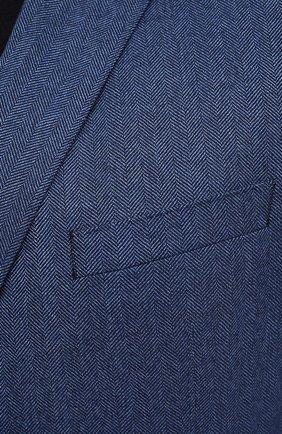 Мужской шерстяной пиджак EDUARD DRESSLER синего цвета, арт. 6461/26006   Фото 5 (Случай: Коктейльный; Big sizes: Big Sizes; Материал внешний: Шерсть; Рукава: Длинные; Длина (для топов): Стандартные; Стили: Классический; 1-2-бортные: Однобортные; Пиджаки М: Прямой; Материал подклада: Вискоза)