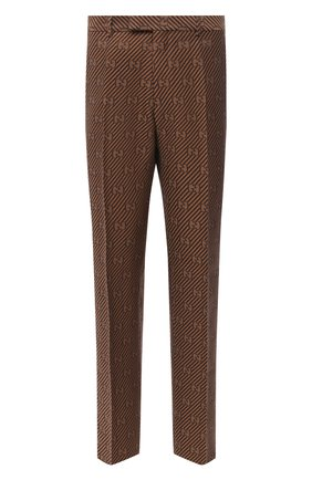 Мужской брюки из хлопка и шелка GUCCI бежевого цвета, арт. 630062/ZAEAK | Фото 1