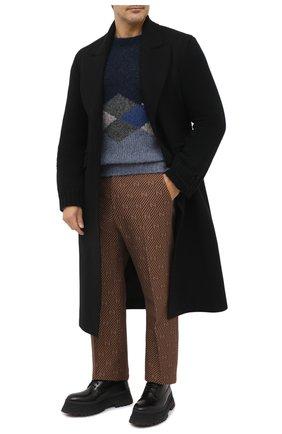 Мужской брюки из хлопка и шелка GUCCI бежевого цвета, арт. 630062/ZAEAK | Фото 2