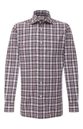 Мужская хлопковая рубашка LUIGI BORRELLI коричневого цвета, арт. EV08/NAND0/TS30016 | Фото 1